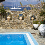 Pool area, Villa Hurmuses, Mykonos, Greece. Website: www.mykonosvilla.com