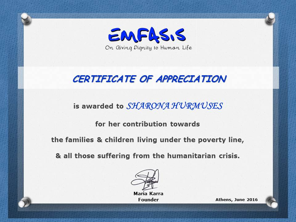 Donation Certificate-HURMUSES SHARONA
